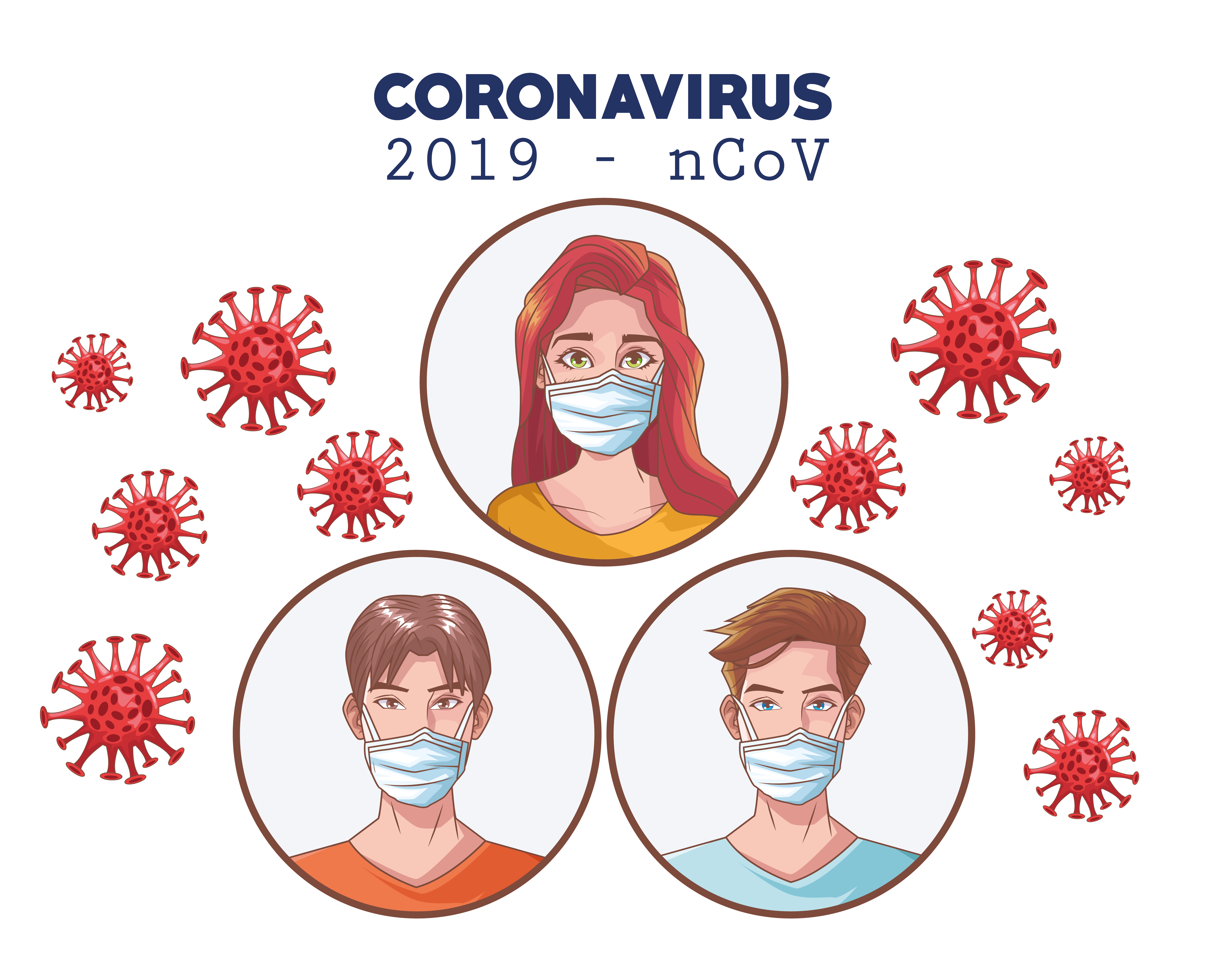 Coronavirus infographic with people using medical mask vector