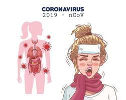 Infografía de coronavirus con personaje de mujer joven enferma. vector