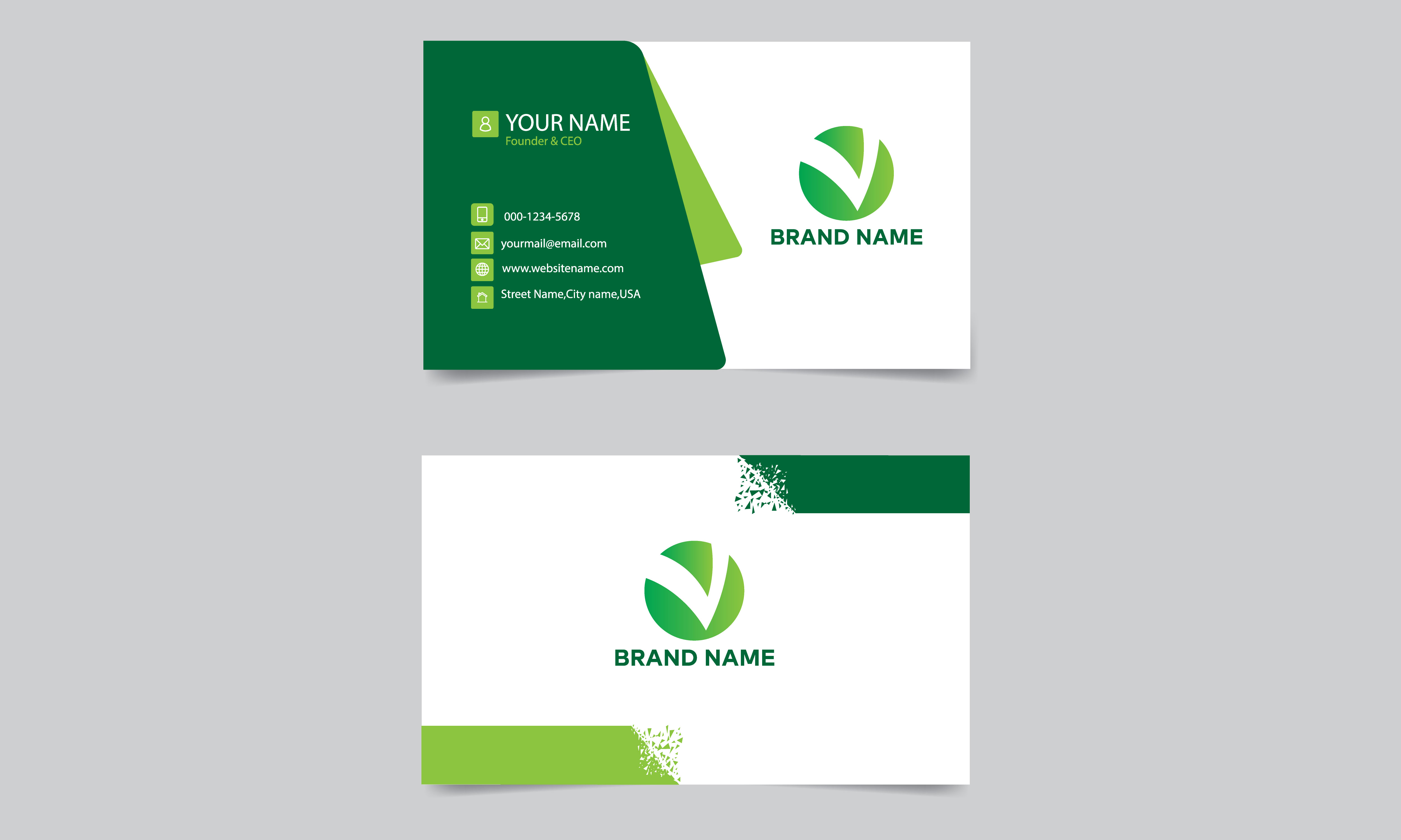 Double-sided modern simple green and white business card