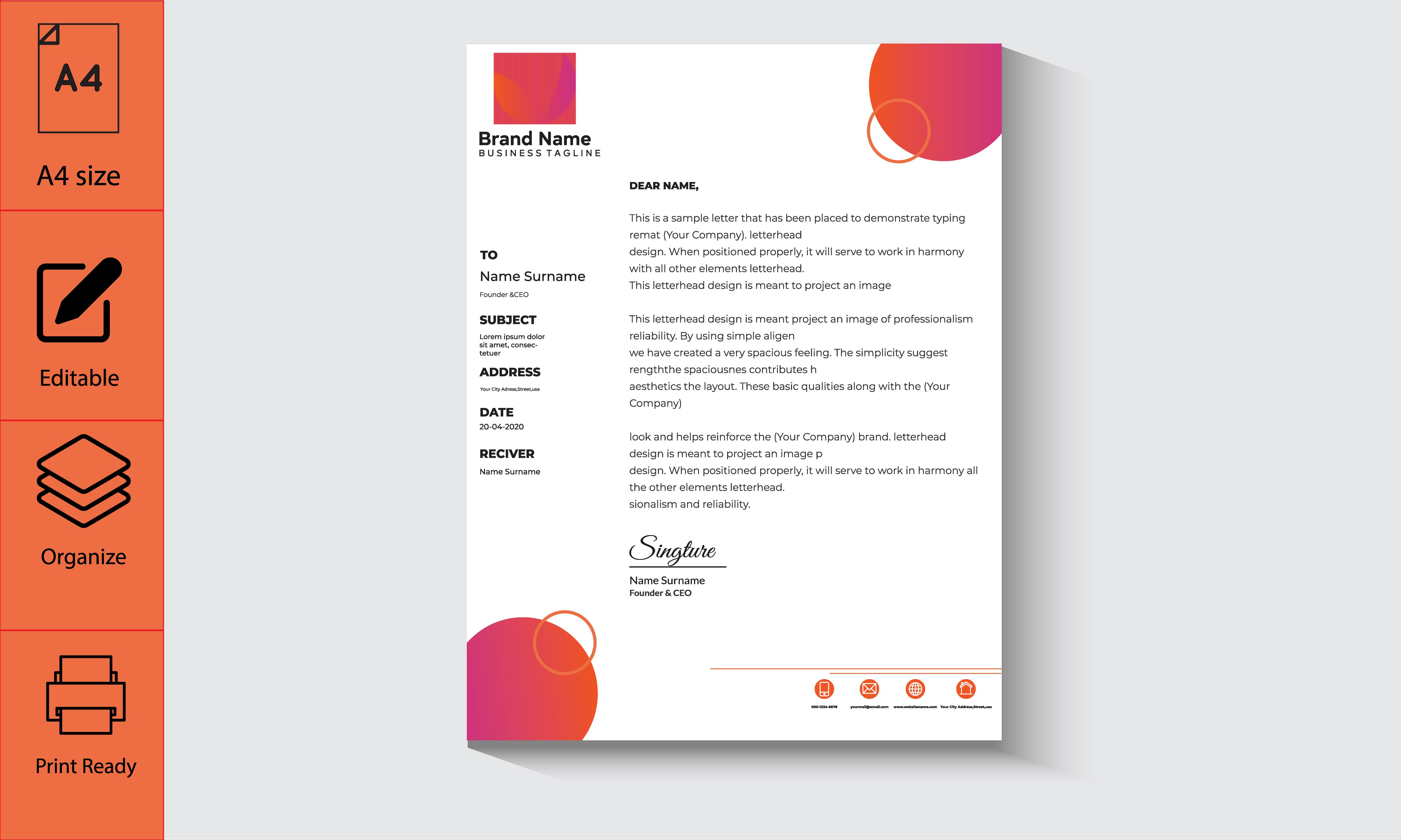 Pink and Orange Gradient Shape Business Letterhead