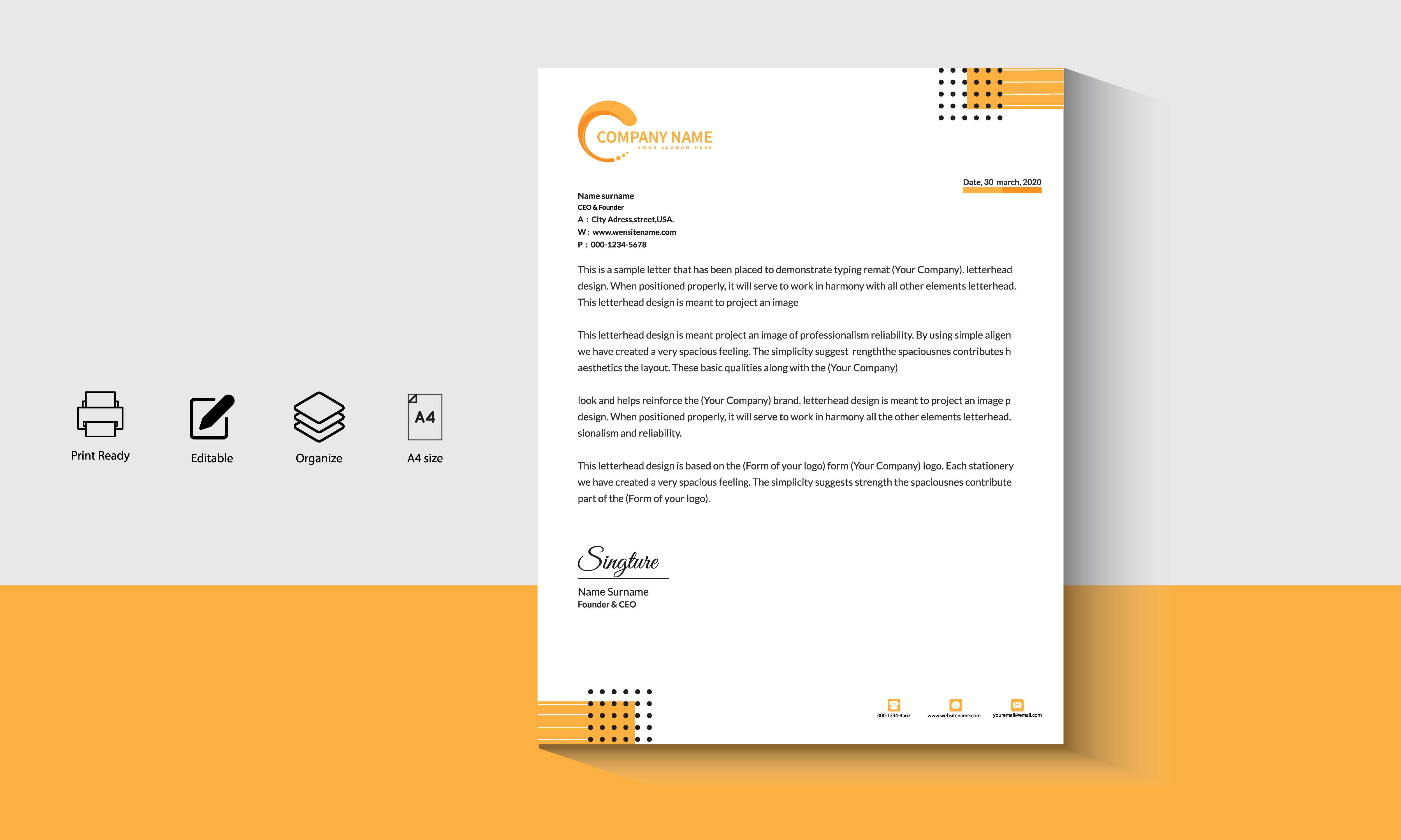 Geometric Modern Orange-Black Business Letterhead vector