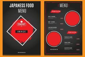 Menú vertical de comida japonesa en negro y rojo. vector