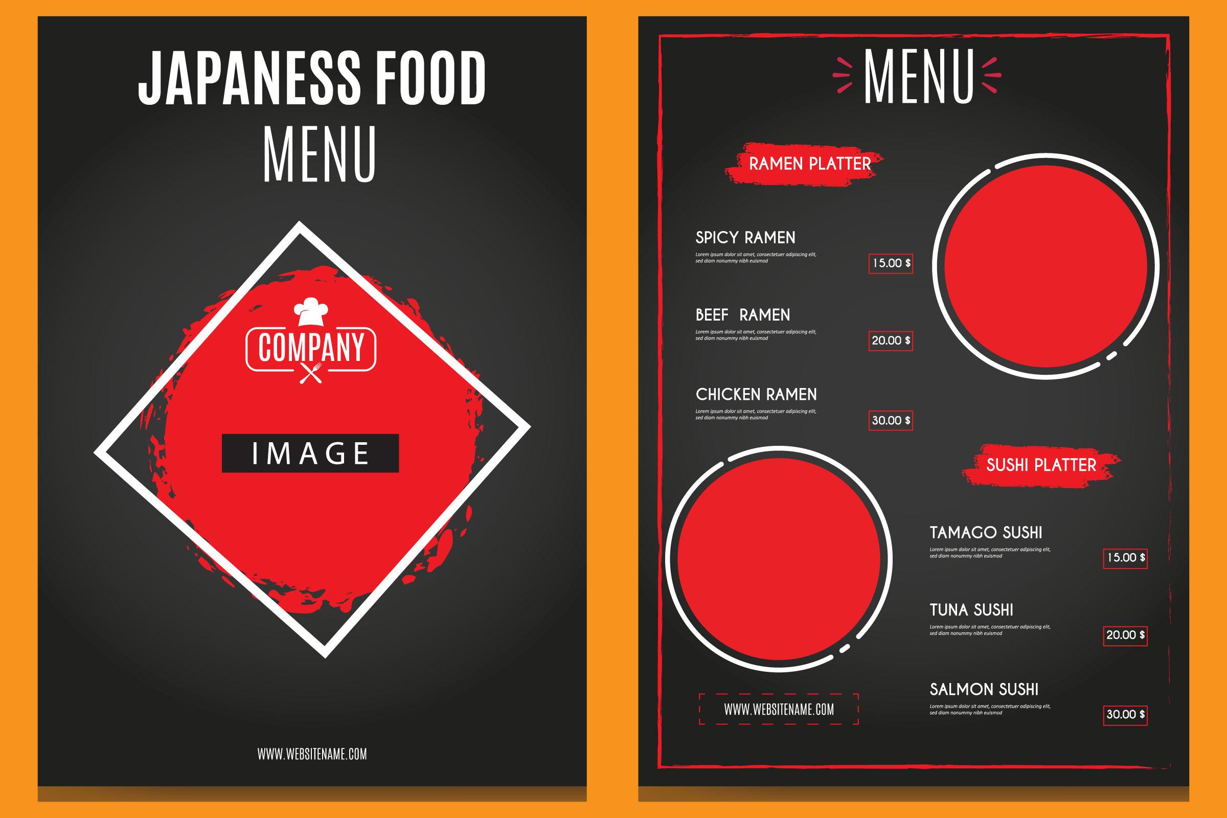 Menú vertical de comida japonesa en negro y rojo.