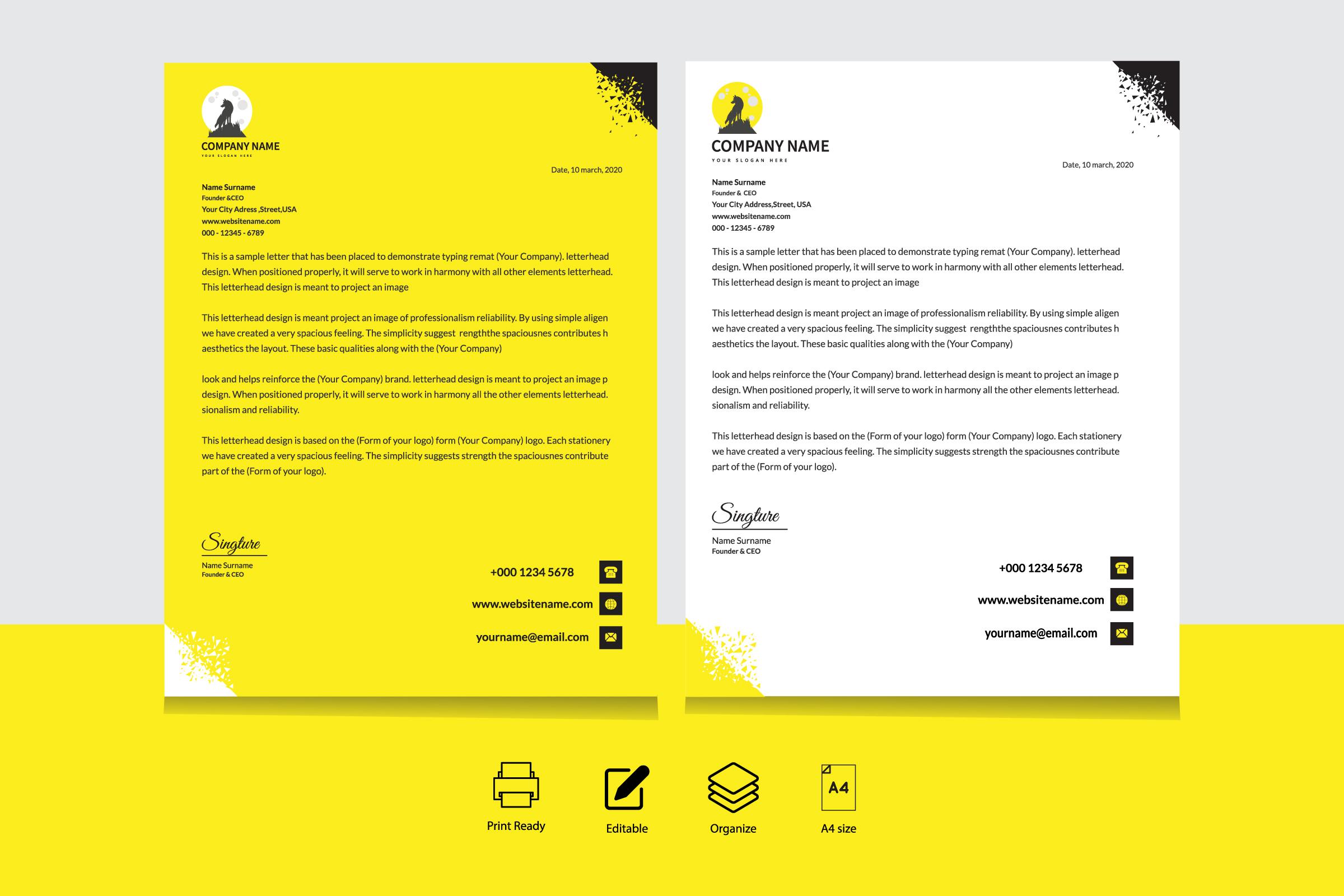 Yellow, black and white triangle corner letterhead