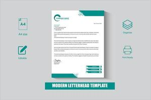 White and Green business letterhead template vector