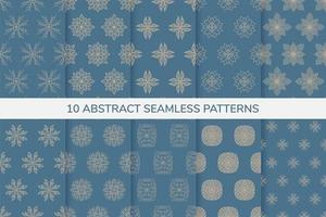 patrones decorativos sin costura azul y oro vector