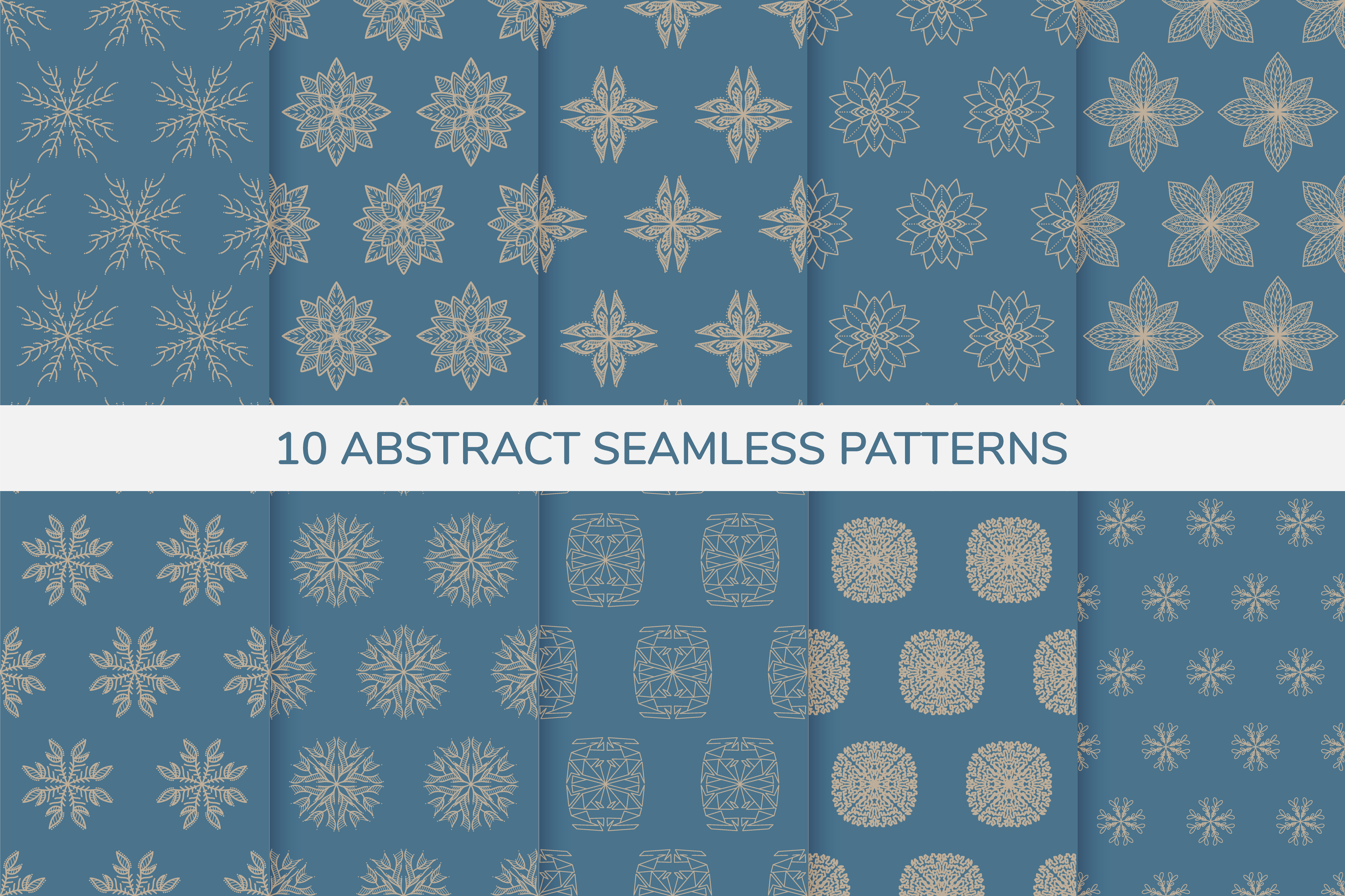 Decorative blue and gold seamless patterns