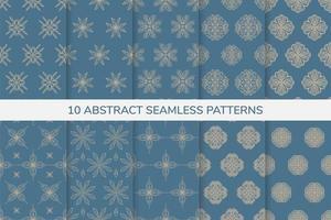 patrones sin fisuras ornamentales azules y dorados vector