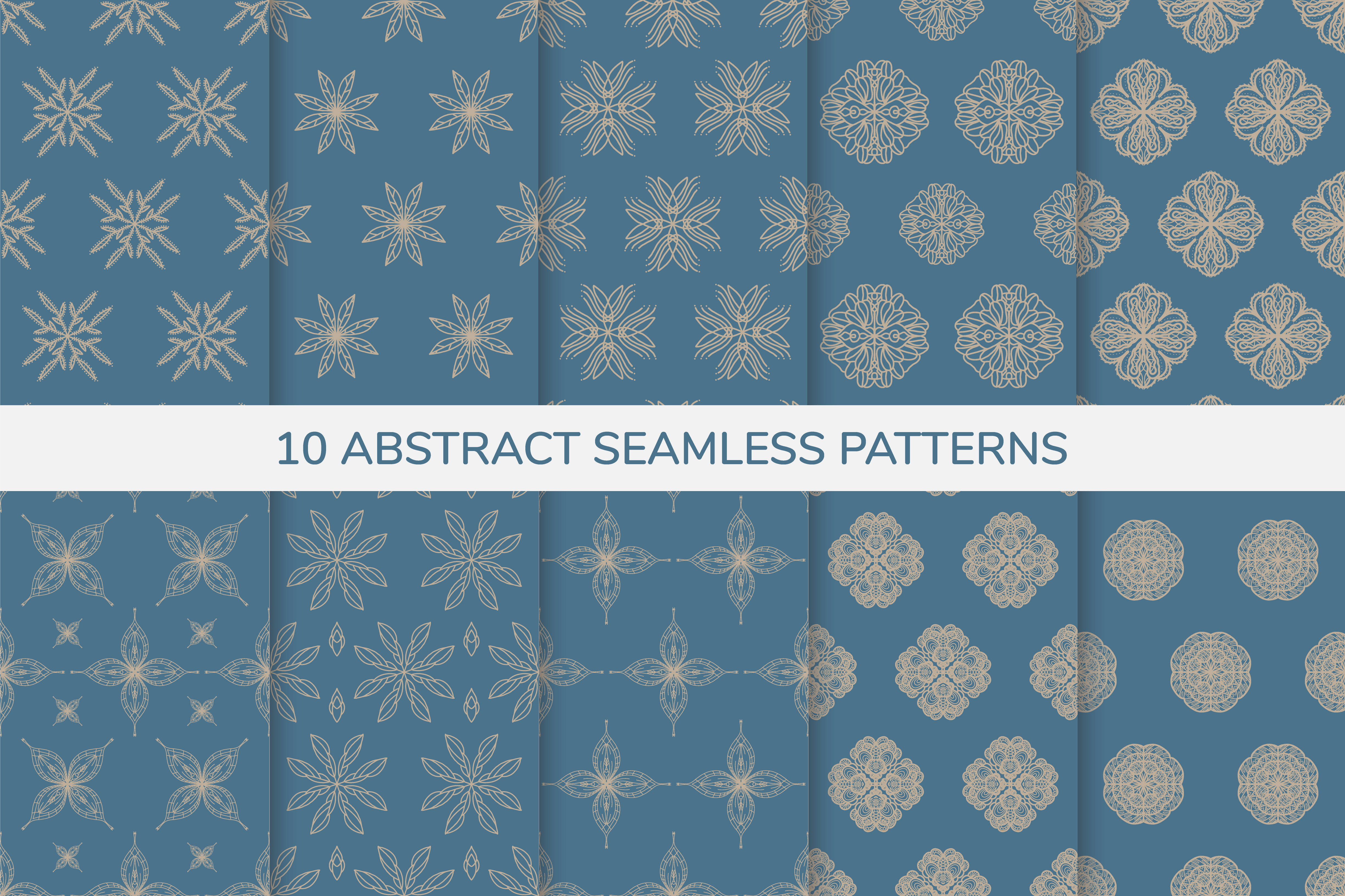 Ornamental blue and gold seamless patterns
