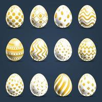 conjunto de huevos con patrones inusuales y hermosos vector