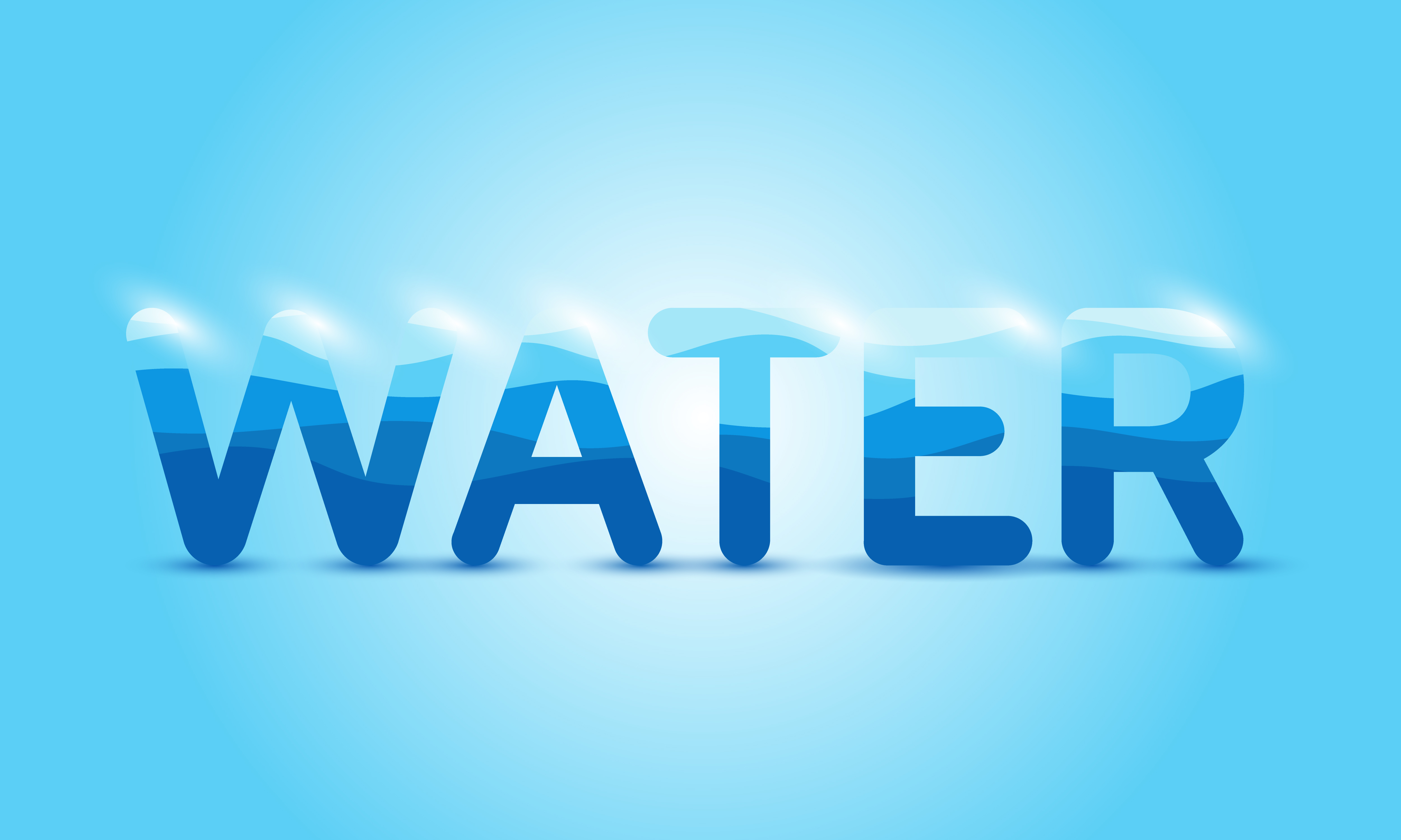 Glowing Water Text on Blue