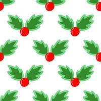 Cute cartoon Christmas holly seamless pattern vector