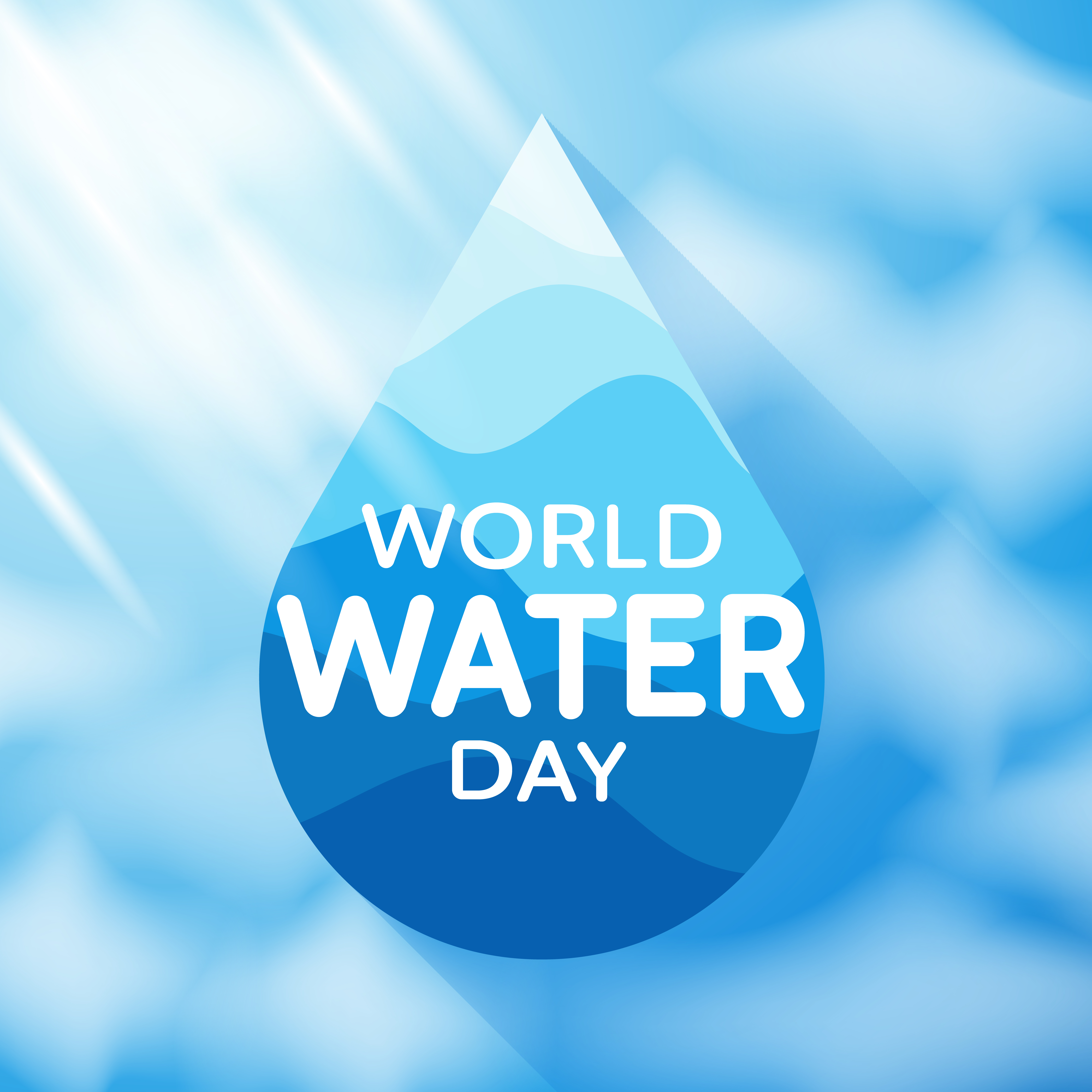 World Water Day Poster with Water Drop and Text