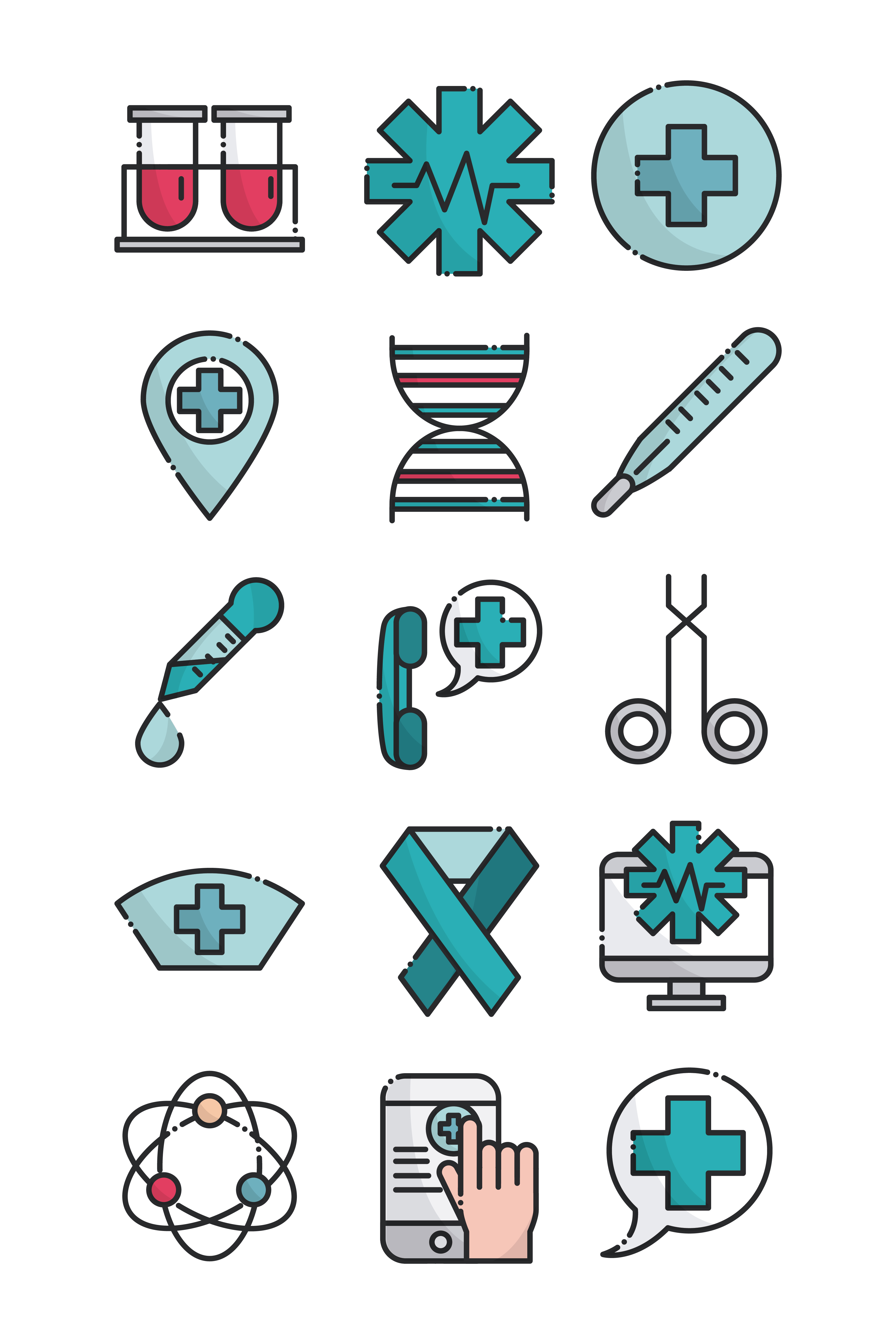 Healthcare line icon set
