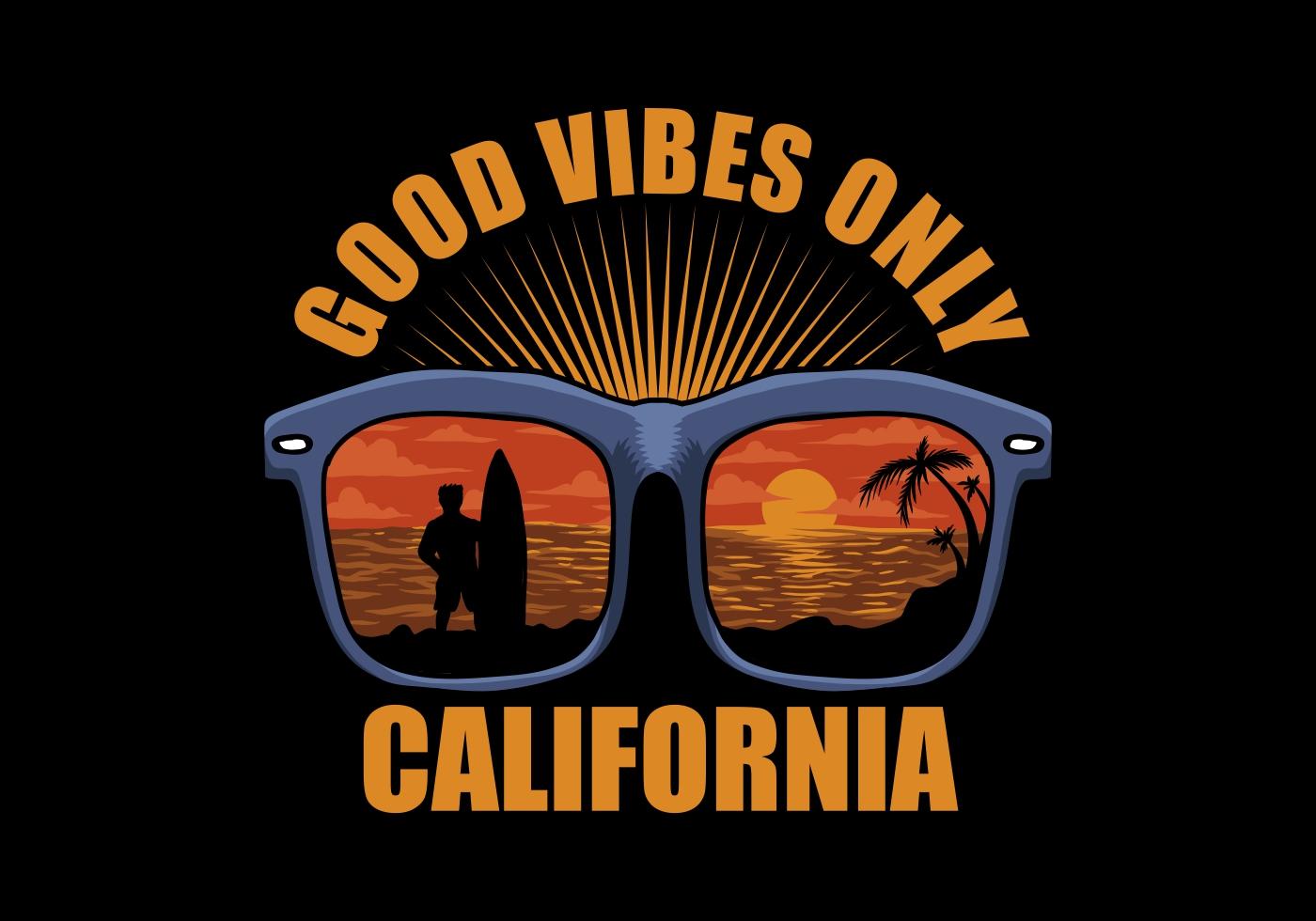 Good vibes beach scene in sunglasses shirt design vector