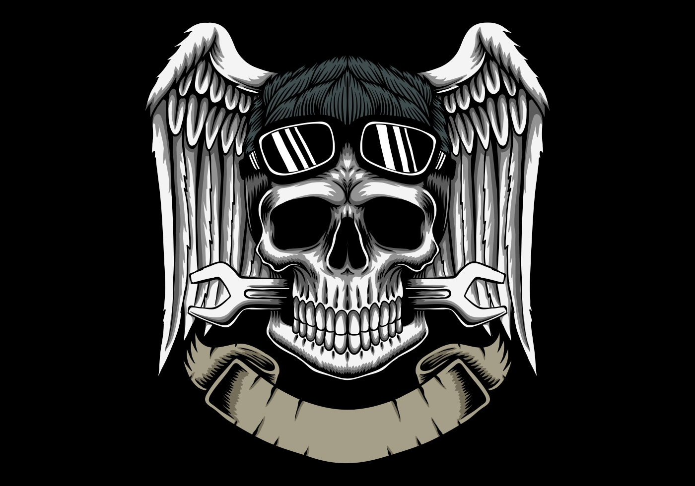 Mechanic skull head with wings and banner emblem vector