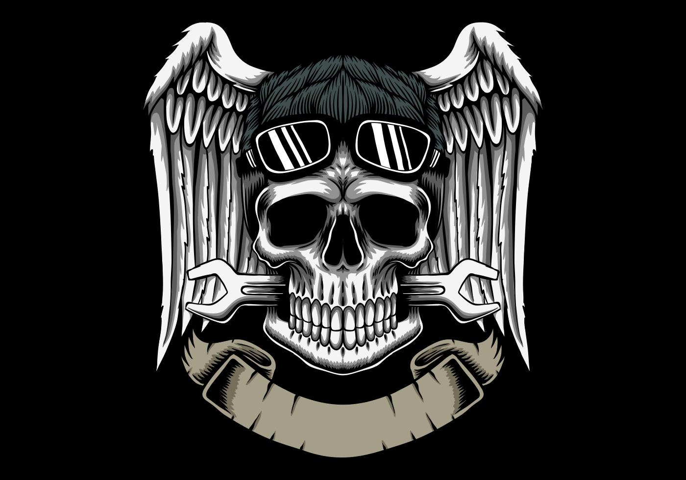 Cabeza de cráneo mecánico con alas y emblema de banner