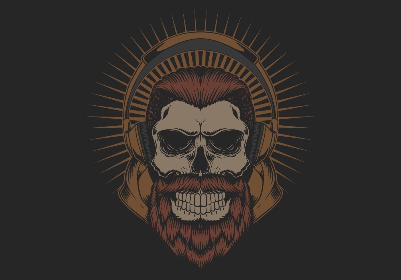 Skull head with beard and headphones