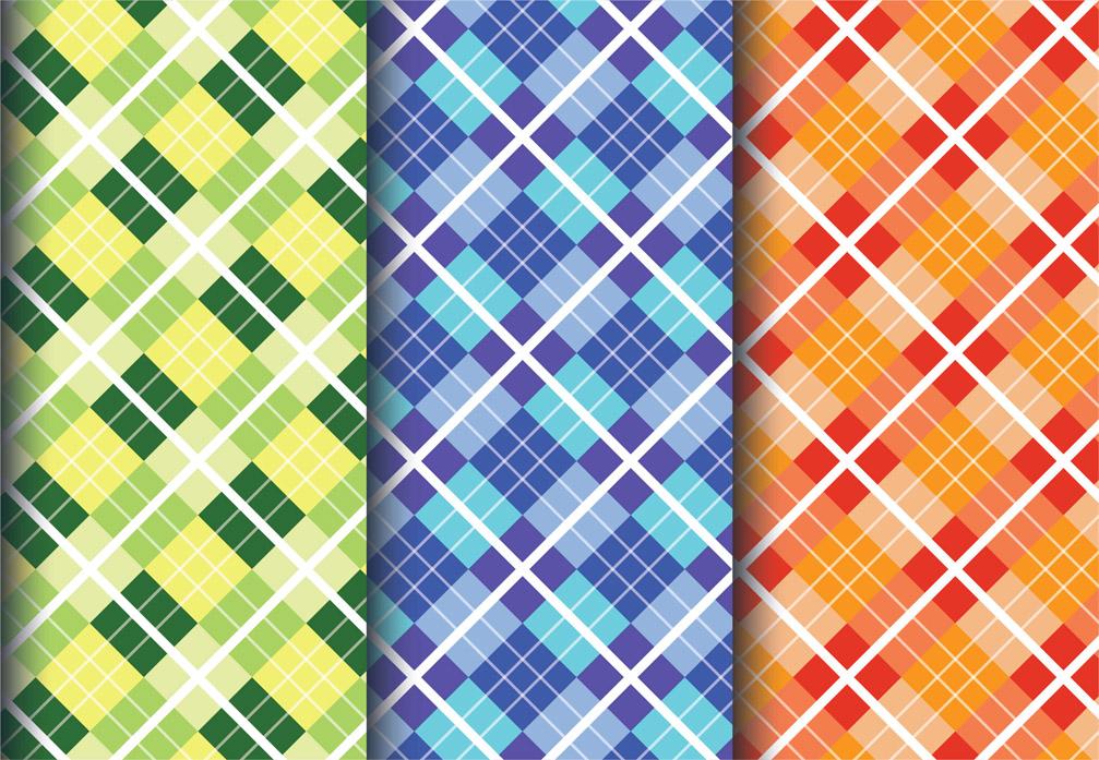 Diamond fabric patterns set vector