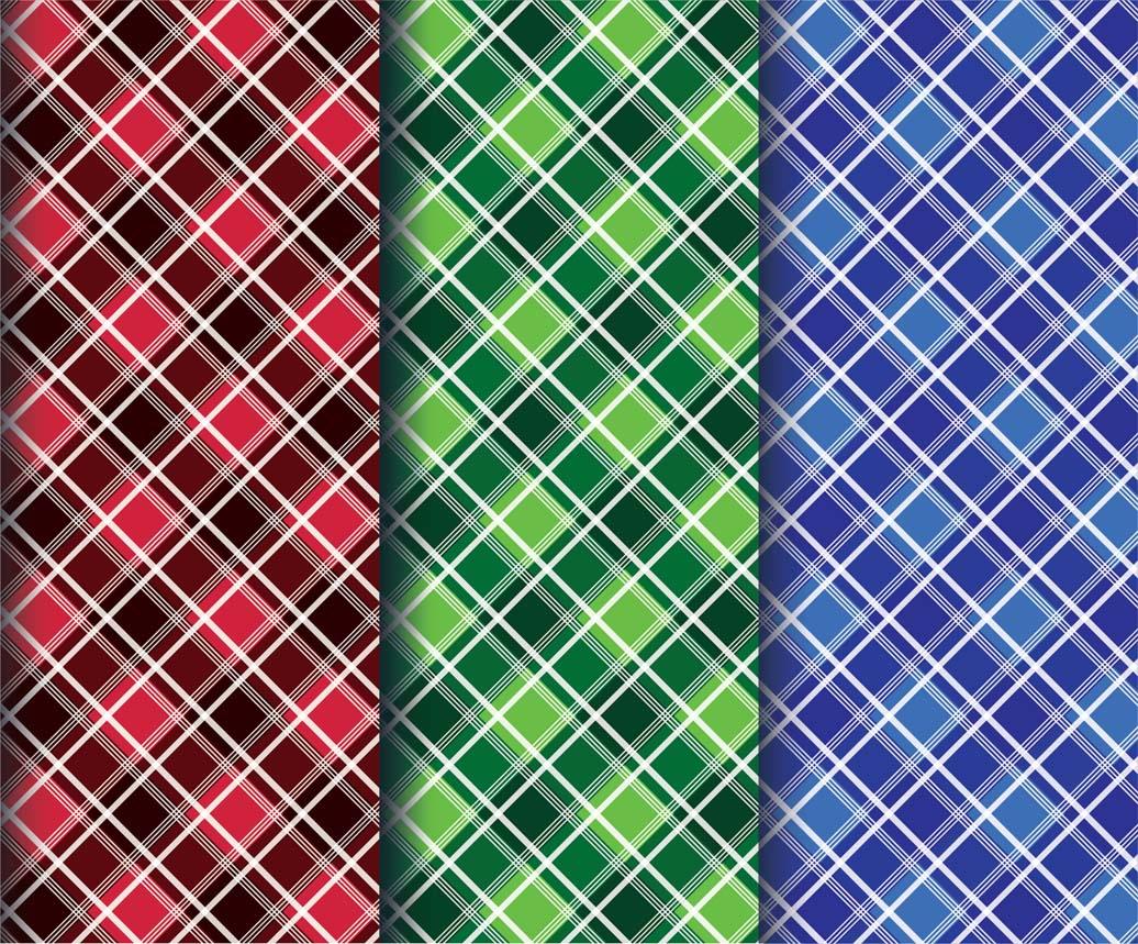 Colorful diamond plaid fabric patterns vector