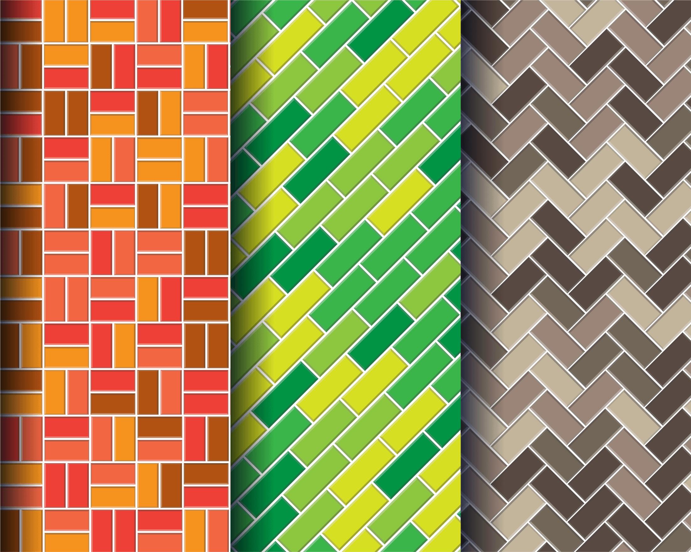 Colorful brick wall patterns