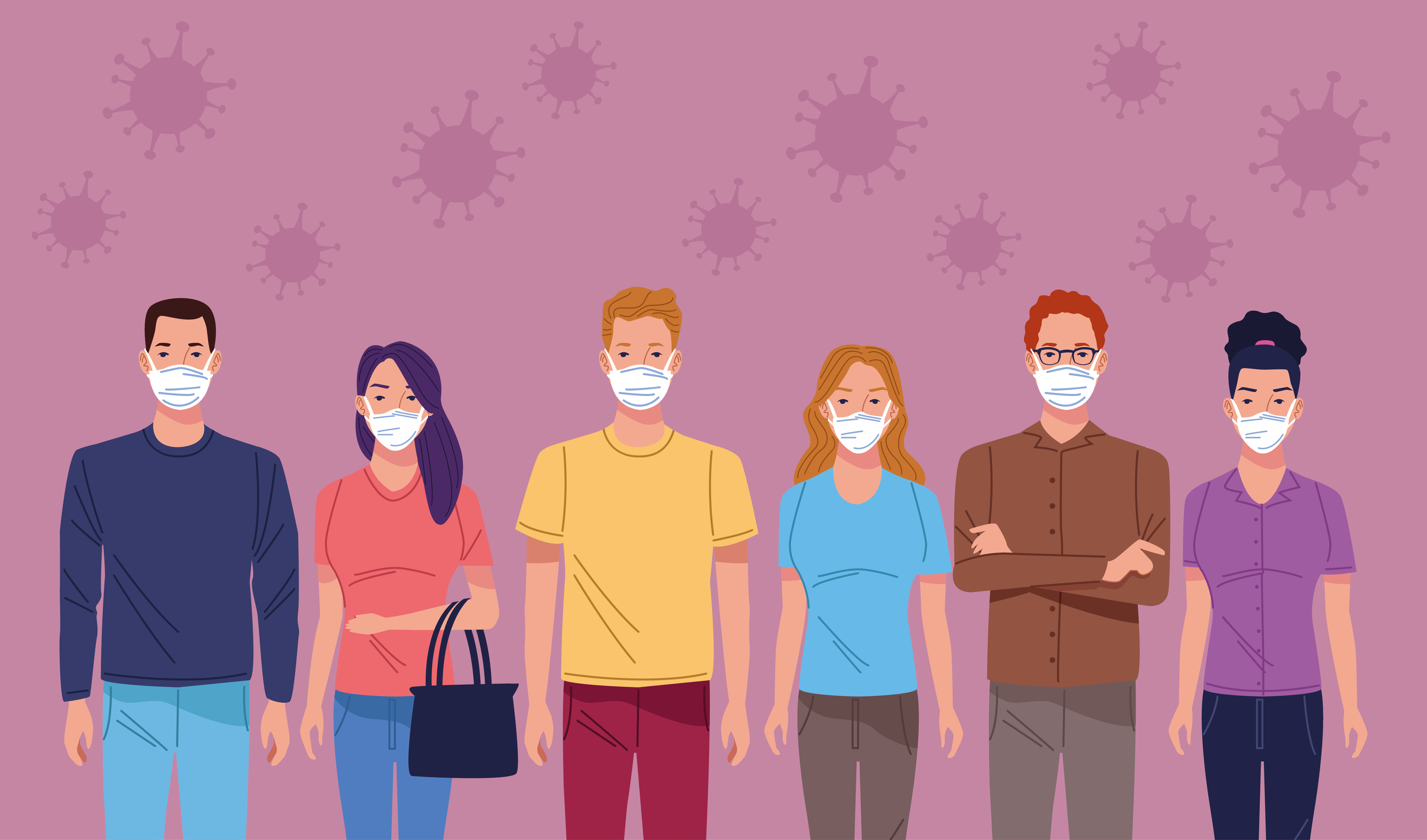 Group of people using face mask to protect against coronavirus