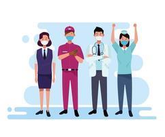 Grupo de trabajadores y personal que utilizan máscaras faciales. vector