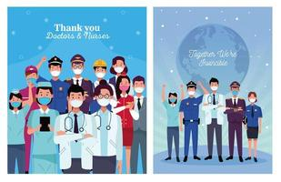 Workers with face masks and positive messages vector