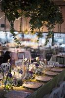 Elegant table setting during a wedding reception