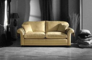 gold sofa in black and white room photo