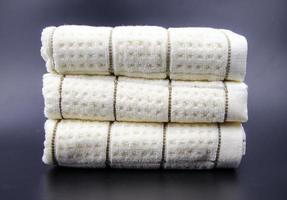 Stacked neatly in the towel photo