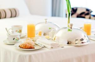 Hotel room breakfast photo