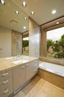 Washbasin By Bathtub At Home photo
