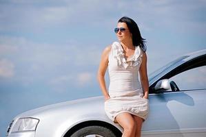 Stylish girl and car