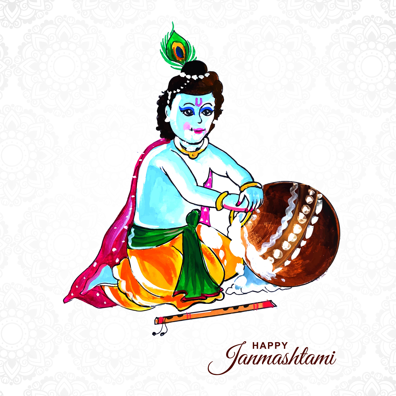 Lord Krishna poniendo la mano en las gachas de avena en el fondo feliz janmashtami