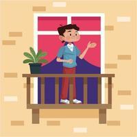 joven en el balcón de su apartamento vector