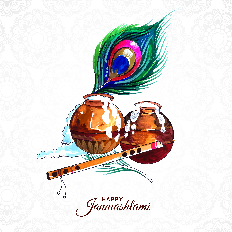 pluma de pavo real, ollas, flauta para tarjeta shree krishna janmashtami