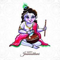 Lord Krishna Sitting with Porridge Happy Ganmashtami Background vector