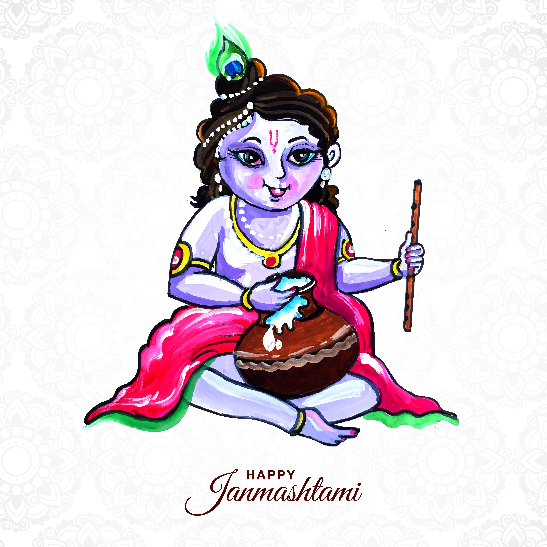 señor krishna sentado con gachas de avena feliz fondo ganmashtami