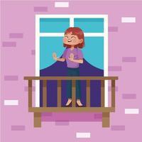 Mujer joven se queda en casa en el balcón del apartamento vector