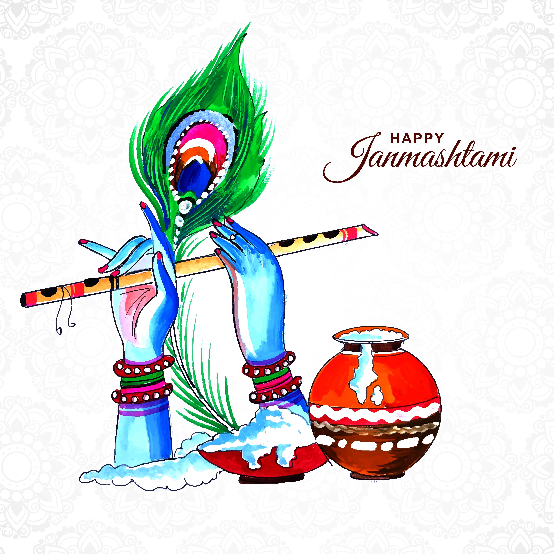 pluma de pavo real y flauta en manos de krishna tarjeta janmashtami