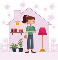 Mujer joven quedarse en casa dentro de la forma de la casa vector