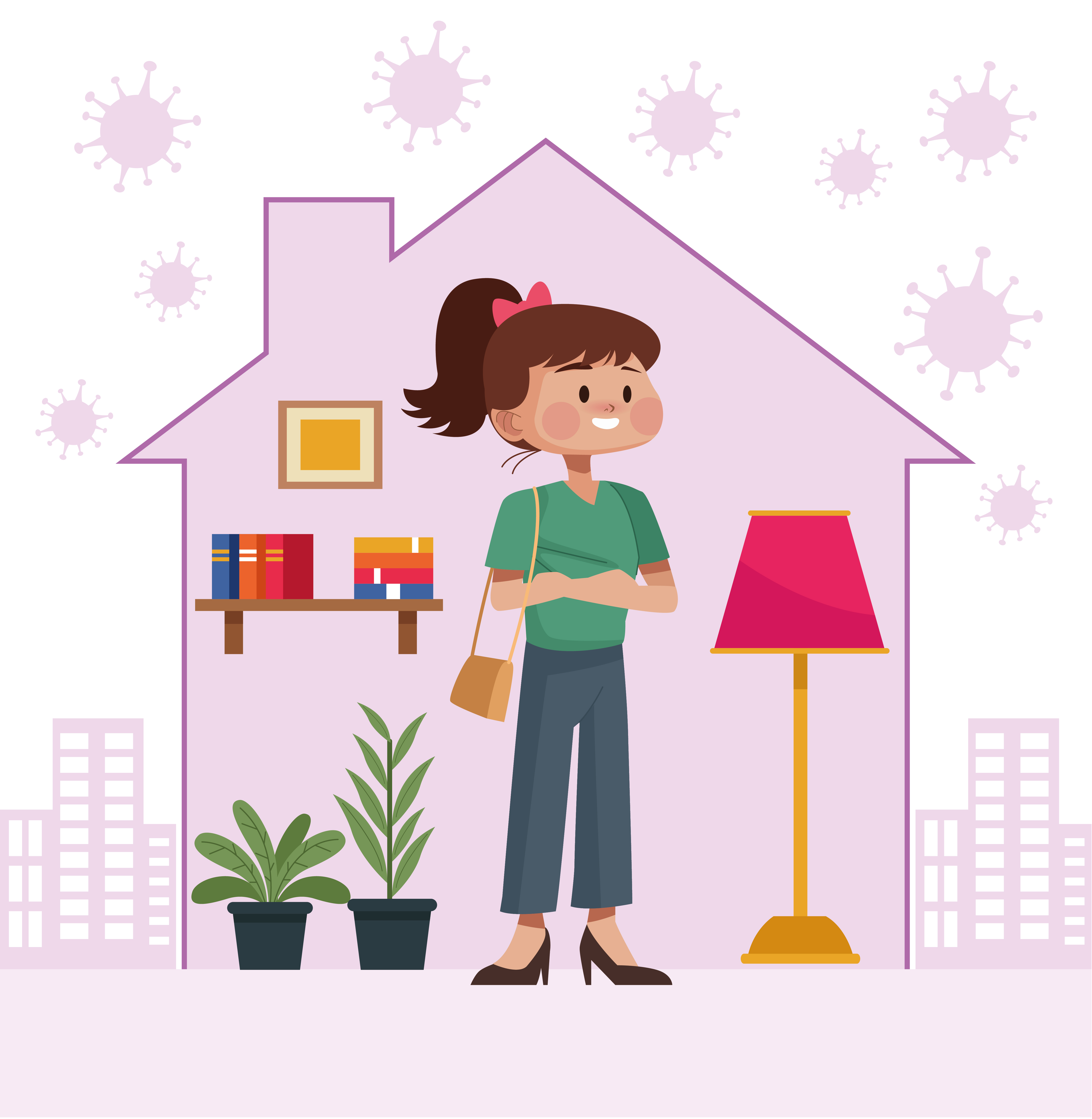 Young woman stay at home inside house shape