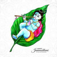 Religious Shree Krishna Laying on Leaf Janmashtami Background vector
