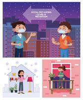 personas con mascarillas, haciendo distancia social y quedarse en casa vector
