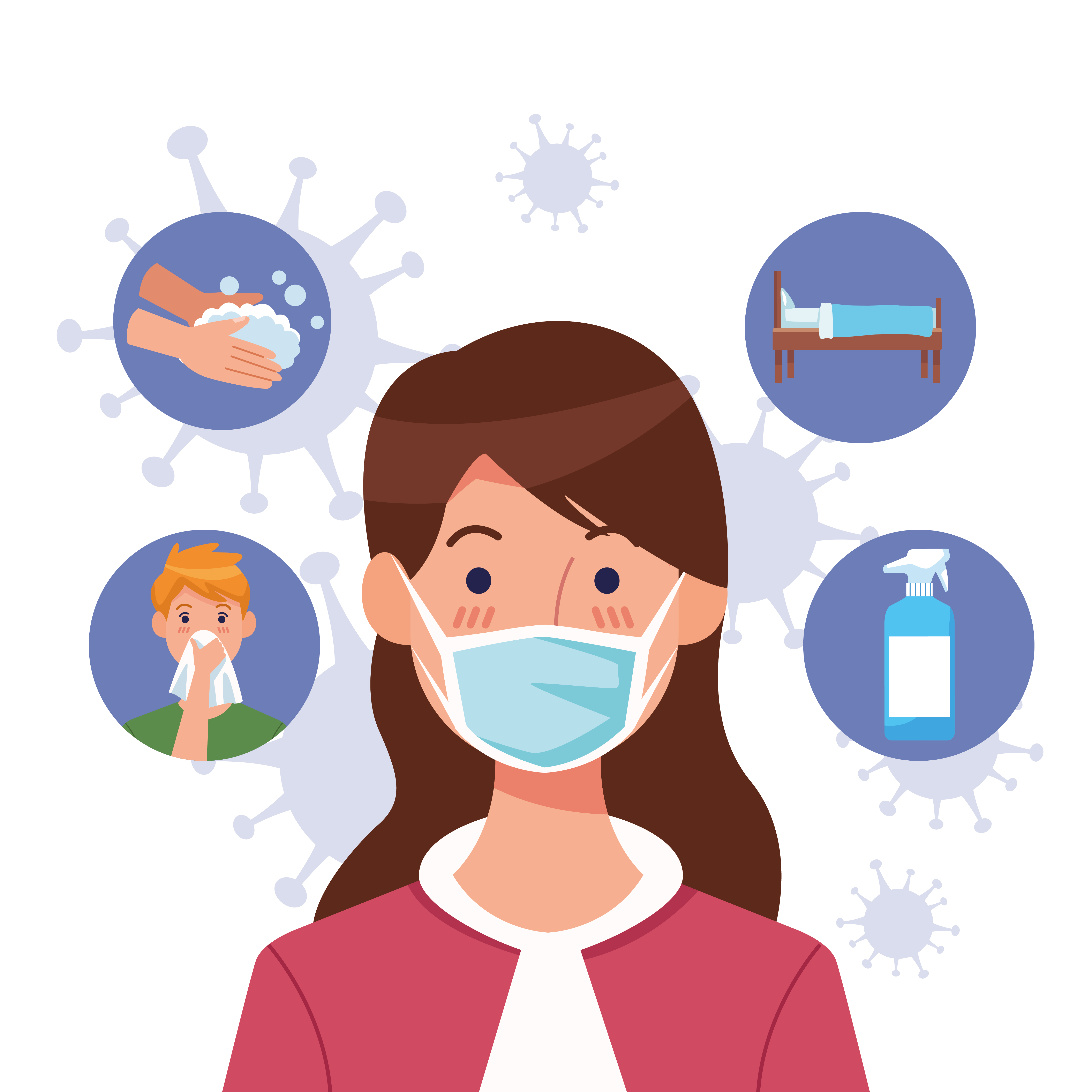 Woman using face mask with COVID 19 icons set