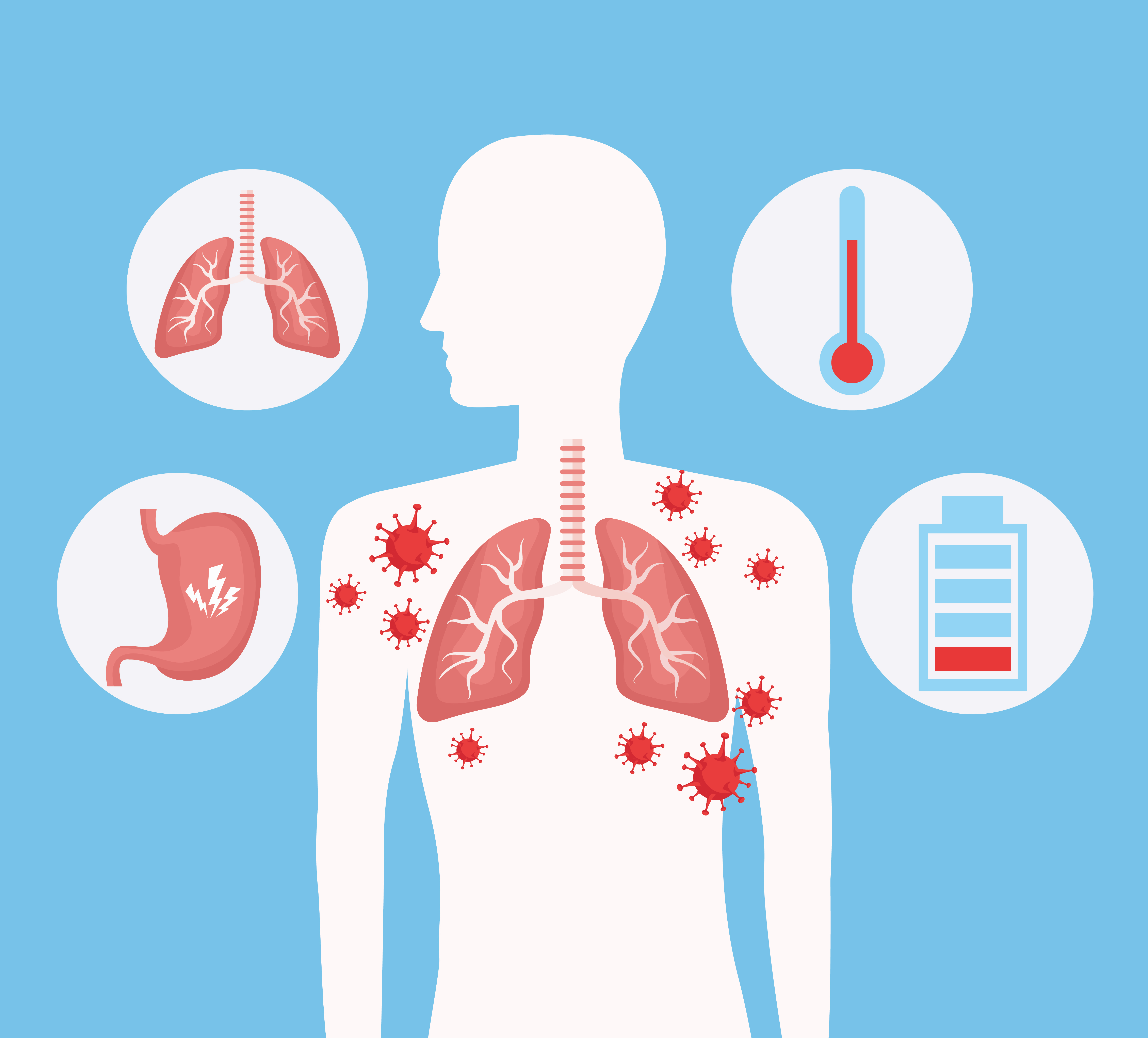 Human silhouette with lungs and COVID 19 icons set