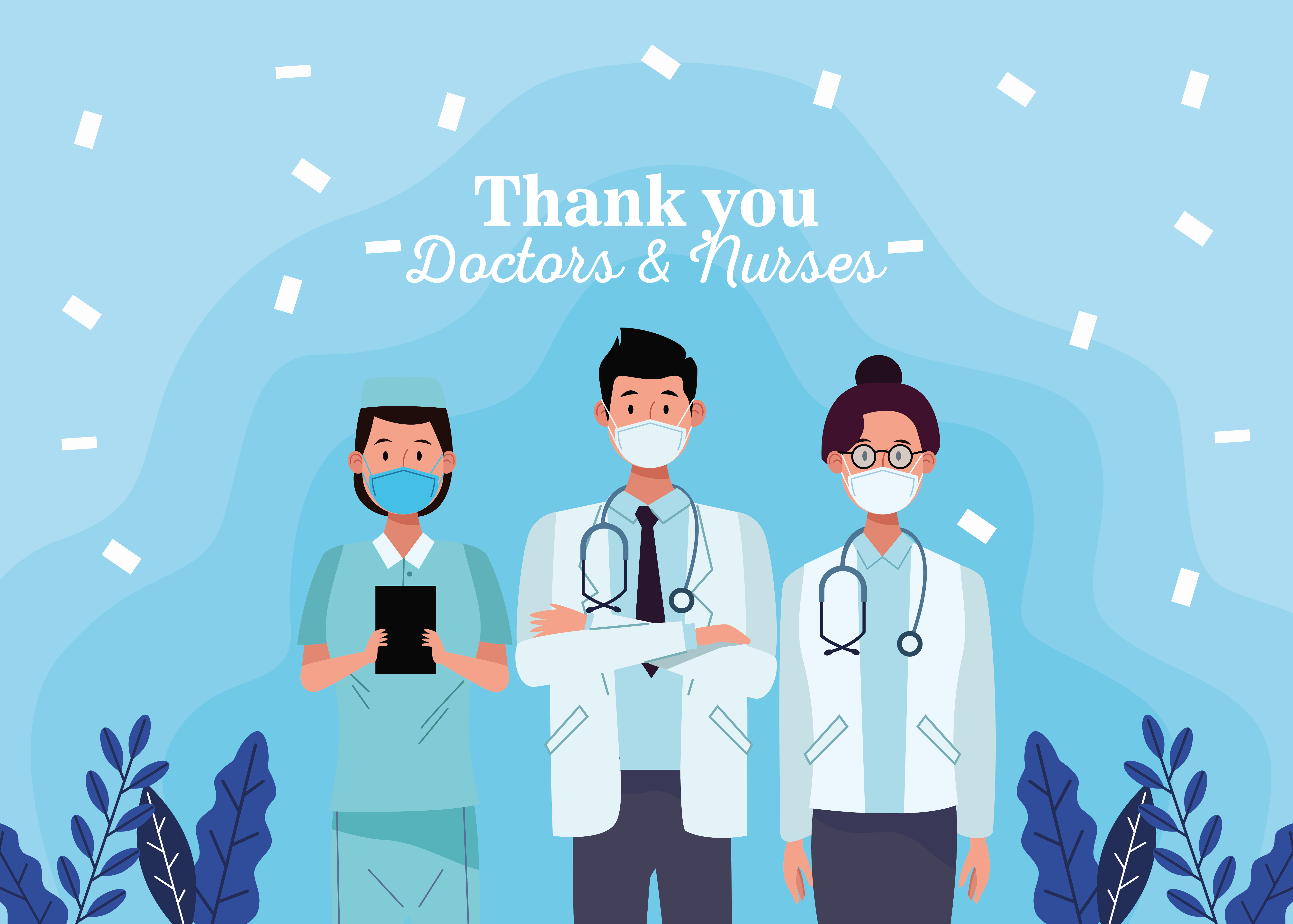 Group of doctors staff characters with message