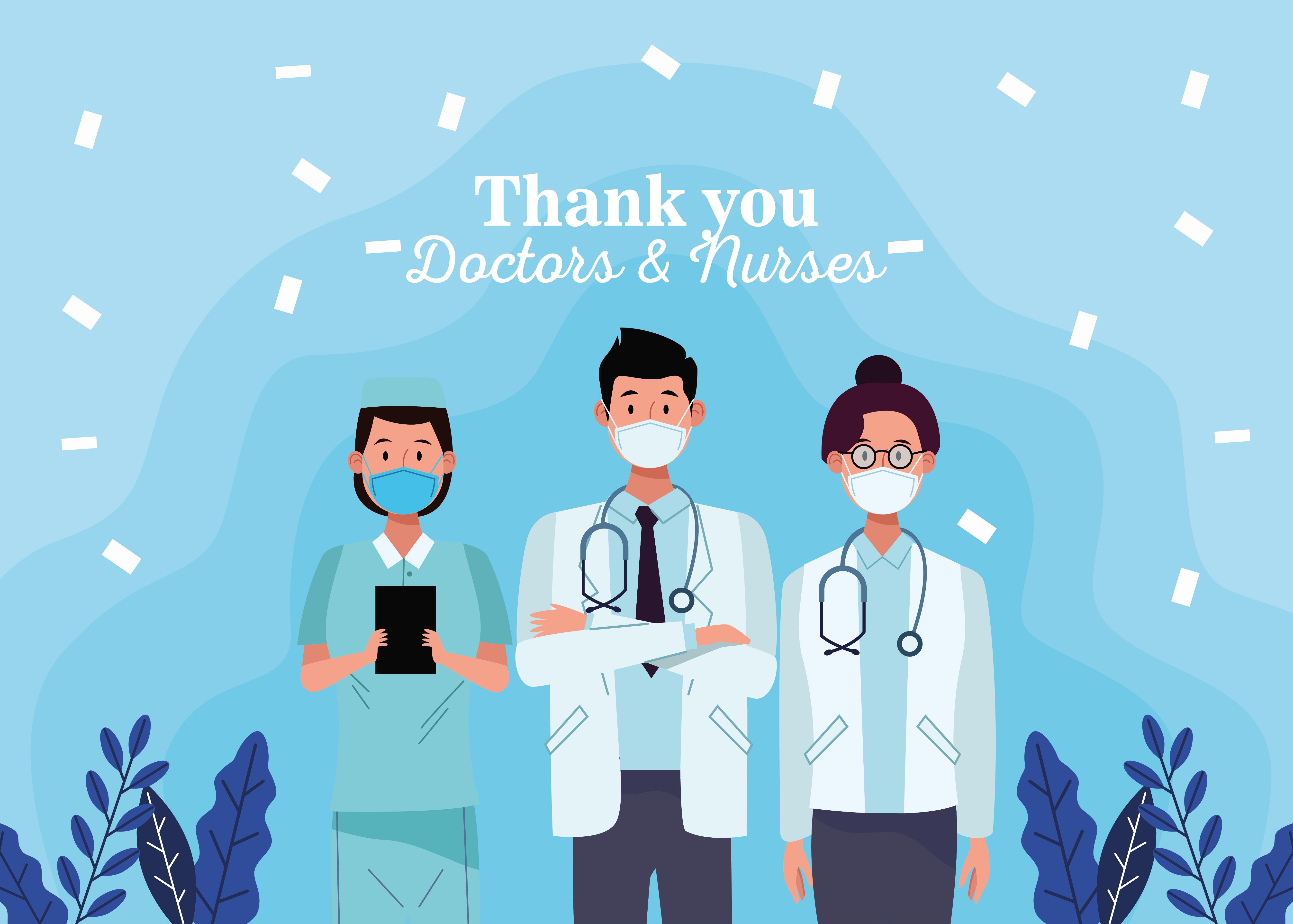 grupo de médicos personal personajes con mensaje vector