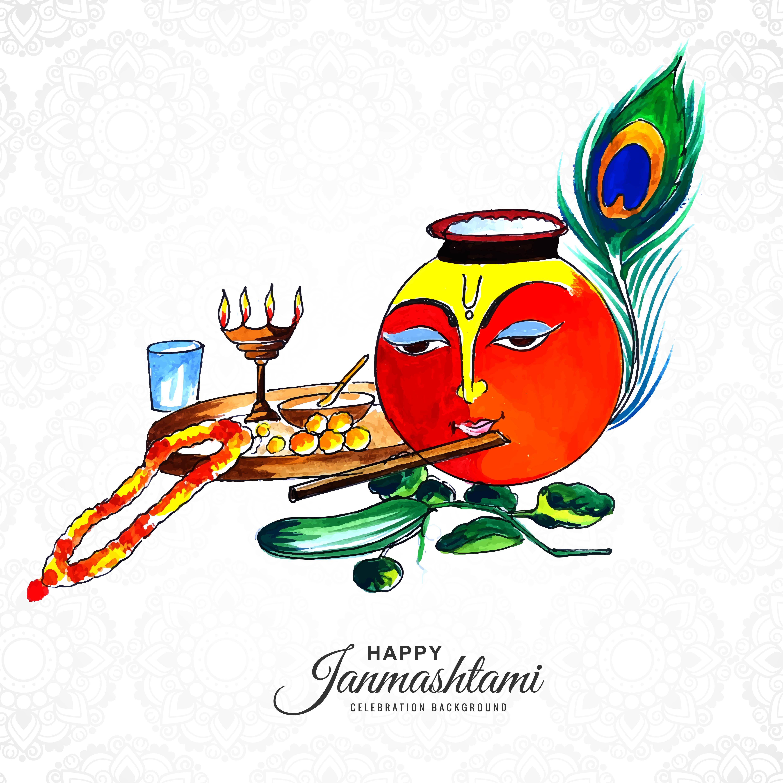 cara de shree krishna en la olla janmashtami tarjeta de fondo